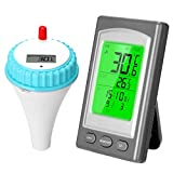 KKmoon Schwimmbad Thermometer Drahtloses Schwimmthermometer Kabellos Wasserthermometer Wasserzähler Wasserdicht Digital Poolthermometer Teich Spa Raumtemperatur-Messgerät mit Alarm LCD-Display