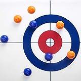 Anwangda Tisch-Curling-Spiel, tragbares Mini-Tisch-Spiele für Familien, verschleißfest, langlebig, für Kinder und Erwachsene, Bildungs-Schule, Shuffleboard-Spiel (Balltuch-Farbe: blau + rot)