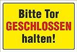 Schild 'Bitte Tor geschlossen halten' 3mm Alu-Verbund, 300 x 200 mm