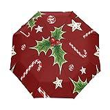 Bigjoke Regenschirm, 3-fach faltbar, automatischer Öffnung, mit Wasserfarbe, Zuckerstange, Weihnachten, winddicht, leicht, kompakt für Jungen, Mädchen, Männer, Frauen