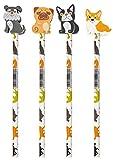 Stylex 42108 - Bleistift mit Radiergummi, Dog Collection, mit Härtegrad HB und Schaftbedruckung, in 4 verschiedenen Hundemotiven sortiert, zum Zeichnen, Skizzieren und Schreiben