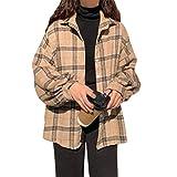 MUYOGRT Damen Karierte Bluse Hemdjacke mit Taschen Knöpfen Loose Langarm Casual Karo Wollhemd Hemdbluse Boyfriend Button-down Blusenshirt Freizeit(#2,XXL)