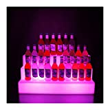 YMXDXTY Weinregal Freistehendes wiederaufladbare LED Bunte 3 Tier-Bar Wein-Flaschenhalter-Regal 4-Flash-Modus Wein-Rack-Display-Stand mit Fernbedienung Klassische Speicherbeleuchtung (Color : Multi)