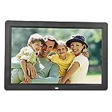 Digitaler Bilderrahmen 12 Zoll 1280 x 800 HD-Bildschirm mit Fernbedienung, Foto/Musik/Video/Kalender/Wecker/Alarm (12 Zoll-Schwarz)