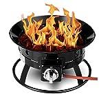 S.O Home Choice Outdoor Gas-Feuerstelle Tragbarer LPG Terrassenstrahler mit Schlauch, Lavasteine und Basis, 48 cm, Grill-Feuerschale für Garten, Camping, inklusive wetterfester Schutzhülle