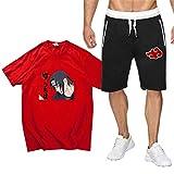 Naruto Tshirt und Hosen Herren, Damen Naruto Uchiha Itachi Akatsuki Anime 3D Sommer T-Shirt und Shorts Set Männer Sport Kurzarm Shirt Anzug Teenager Mädchen Jungen Oberteile Blusen Shirt Top (1,L)