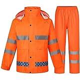 wasserdichte Regenjacke Anzüge Motorrad Radfahren für Männer Frauen Regenkombi Motorrad mit reflektierenden Streifen,Orange,XXL