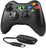 Dhaose Wireless Controller für Xbox 360 PC, 2,4GHz Verbessertes Ergonomisches Design Dual-Vibration Gamepad Joystick mit Empfänger für Xbox 360/PC Windows 7/8/10