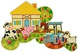 Hess Holzspielzeug 30304 - Garderobe aus Holz, Serie Bauernhof, mit 5 Haken, für Kinder, ca. 37 x 24,5 x 6,5 cm groß, handgefertigt, als Blickfang in jedem Kinderzimmer und Flur