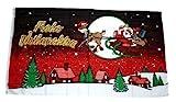 Fahne/Flagge Frohe Weihnachten Schlitten rot 150 x 250 cm