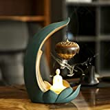 Keramik-Räuchergefäß, Lotus-Rückflussbrenner, Schale, Buddha, Kunst, Handwerk, Zuhause, Büro, Dekoration, mit LED-Nachtlicht (Lotus Burner Bowl)