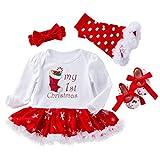 Amosfun Lovely Baby Body Kleinkind Weihnachten Socken Gemusterte Kleider Mesh Kleid Neugeborene Weihnachten Kleid Anzug Geeignet für - Monate Größe S