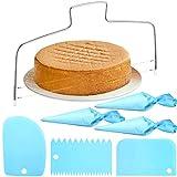 7 Stück Verstellbarer Tortenbodenteiler Kuchenschneider Edelstahl Tortenschneider mit 2 gezahnten Schneiddrähten,Spritzbeutel Wiederverwendbar und Kuchenschaber Kuchenglasur Glatteres Werkzeug
