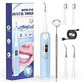 Zahnreinigung Set Zahnreiniger elektrisch mit 2Zahnbürste köpfe und 2Reinigungsköpfe für Zahnzwischenraumreinigung und Zahnoberflächenreinigung - 5 Reinigungsmodi