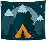 votgl Abstrakte Kunst Tapisserie Stary Himmel Berg Mount Magic Tree Zelt Wandbehang Ästhetische Tapisserie Poster Marineblau Polyester Überwurfdecke 150x200cm