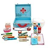 HUIJK Kinder Arztkoffer mit Zubehör aus Holz Doktorkoffer Doktorset Spielzeug blau
