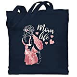 Shirtracer Muttertagsgeschenk - Mom life - weiß/rosa - Unisize - Navy Blau - Geschenk - WM101 - Stoffbeutel aus Baumwolle Jutebeutel lange Henkel