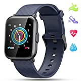 LIDOFIGO Smartwatch,Herren Fitnessuhr Touchscreen Fitness Armband Pulsuhr IP68 Wasserdicht Sportuhr Fitness Tracker mit Stoppuhr Schlafmonitor Kompass Schrittzähler Uhr Smartwatch Damen Android Blau