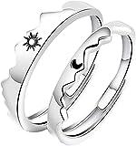 Sun Moon Matching Rings Set Paar Freundschaft - Einfache Sonne und Mond Paar Ringe, Night Love Matching Couples Ringe Set Promise Ring (A - Sonne + Mond)