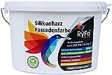 RyFo Colors Silikonharz Fassadenfarbe 12,5l (Größe wählbar) - hochwertige Silikon Außen-Farbe-Dispersion, weiß, abtönbar, wasserabweisend, Abperleffekt, Wetterschutz, hohe Deckkraft, lösemittelfrei