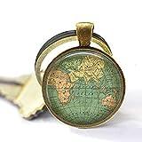 Schlüsselanhänger mit Vintage-Weltkarte, alte Weltkarte, Weltkugel, Vintage-Weltkugel, Schmuck-Geschenk