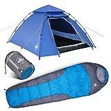 Lumaland Outdoor Pop Up Kuppelzelt 3 Personen Zelt + Schlafsack 230x80 cm - Camping Set - Wasserdichtes Zelt - Warmer Schlafsack, kompaktes Packmaß - Blau