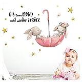 Little Deco Wandtattoo Bis zum Mond & Hasen im Regenschirm I M - 100 x 59 cm (BxH) I Kinderzimmer Babyzimmer Aufkleber Sticker Wandaufkleber Wandsticker DL131