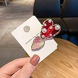 XKMY Koreanische rote Herz Kunstperle transparente Acryl-Haarspangen für Frauen Haar-Accessoires Haarnadeln Haarnadeln für Frauen (Metallfarbe: Rot Perle Rosa)