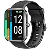 LETSCOM Smartwatch für Damen Herren, 1.69 Zoll Fitness Armbanduhr mit Schrittzähler, Pulsuhr und Blutsauerstoffsättigung, 5ATM wasserdichte Sportuhr Smart Watch mit Alexa-Integration Schw