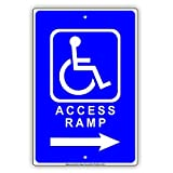 Warnschild Handicap Access Rampe Richtungspfeil Hilfe Rechts und Links Verkehrsschild Geschäftsschild 8X12 Zoll Aluminium Metall Blechschild Q0026