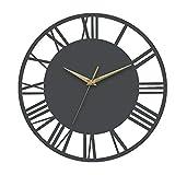 Warmiehomy 30 cm runde Wanduhr im Vintage-Stil, römische Ziffern, geräuschlos, nicht tickend, hängende Uhr für Zuhause, Garten, Büro, Café, Dekoration, grau, goldene Zeiger