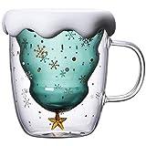 BCXGS Kaffeebecher Doppelwandig Glas 300 ml Weihnachtsbaum Isolierglasbecher mit Griff Perfekt für Latté, Americano, Cappuccino, Teebeutel, Getränk
