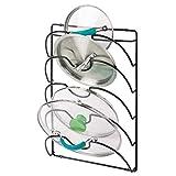 mDesign vertikaler Topfdeckelhalter – praktische Küchenutensilien für Topf- und Pfannendeckel – handliches Küchenzubehör aus Metall – schwarz