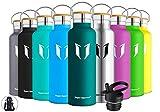 Super Sparrow Trinkflasche Edelstahl Wasserflasche - 500ml - Isolier Flasche mit Perfekte Thermosflasche für Das Laufen, Fitness, Yoga, Im Freien und Camping   Frei von BPA (Dunkelgrün)