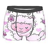 MTevocon Männerunterwäsche,Baby-Dusche-Grußkarte mit rosa Alpaka-Mä, Boxershorts Atmungsaktive Komfortunterhose Größe XXL