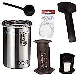 AeroPress Kaffee- und Espressokocher mit gebürstetem Edelstahl-Kaffeedose und 350 zusätzlichen Filtern – schnell leckeren Kaffee ohne Bitterheit – 1 bis 3 Tassen pro Presse