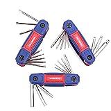 WORKPRO Innensechskantschlüssel Set, 24-tlg. Cr-V Faltbarer Pocketschlüsselsatz mit Kugel und Torx (9 bis 40), Ideal für Fahrrad und Heimwerk
