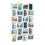 Relaxdays Bilderrahmen für 24 Fotos, 10 x 15, Fotorahmen zum Hängen, Fotocollage gestalten, HBT: 59 x 86 x 2,5 cm, weiß, Plastik, 87 x 60.5 x 3 cm