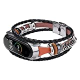 Watchband for Xiaomi Mi Band 5 Replacement Leather Beaded Bracelet Ethnic Style Metal Braided Watch Strap band For Mi band 4 5 3