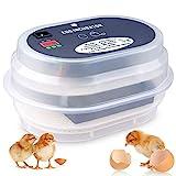 Amzdeal Inkubator, Vollautomatische Brutmaschine, Motorbrüter Hühner, Brutapparat mit LED Temperaturanzeige und Präzieser Temperaturfühler, Temperatur und Feuchtigkeitsregulierung, für 9-12 Hü