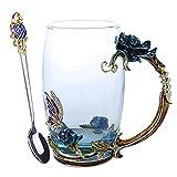 Linglong Emaille-Kaffee-/Teetasse, 3D-Rosen-Schmetterling-Glas-Tassen, Hochzeitsgeschenk