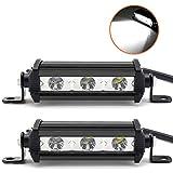Willpower 2 Stücke 4 Zoll einreihige LED-Lichtleiste 15W Low Profile Ultradünner, schlanker Mini-Scheinwerfer für PKW, LKW, Anhänger, 4x4, SUV, ATV