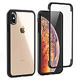 LOFTer Hülle Kompatibel mit iPhone XS Case 360-Grad-Ganzkörper Schutzhülle iPhone X Cover Eingebauter Displayschutzfolie Transparent Durchsichtig Stoßfest Handyhülle für iPhone XS/X 5.8' Schw