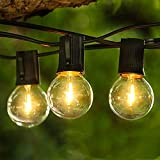 Albrillo Lichterkette Glühbirnen LED Außen - 16M Lichterkette Outdoor mit 50 G40 Birnen + 3 Ersatzbirnen aus unzerbrechlich Kunststof, Warmweiß für Innen Außen, Garten, Bar, Balkon, Hochzeit, Feier