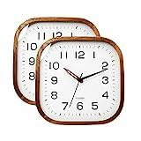 Uhr Wand 12 Zoll Holz Wanduhr Square Wohnkultur Wanduhr Dauerhafter Batteriebetriebenes Ruhiges Non-Ticking-Schlafzimmer Dekor (Color : White×2)