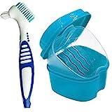 Odoukey Gebiss-bürsten-Satz, Simulation Zähne Gebiss Fall Cup Unterseiten-Halter-Kasten-behälter Einweichen Zahnprothesenbad Siebkorb Und Prothesenbürste Für Reisen Waschen (blau)