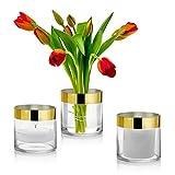 Set mit 3 Glasvasen in Zylinderform, 10,2 cm hoch, mit 2,5 cm Goldrand, vielseitig verwendbar: Stumpenkerze, Schwimmkerzenhalter oder Blumenvase, perfekt als Hochzeitsdekoration