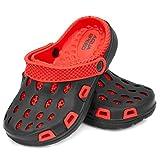 Aqua Speed Clogs Pantoletten für | Badeschuhe | rutschfeste Badepantoletten | Slippers | Swimmingpool | Schwimmbad | Schwarz/Rot Größe:31