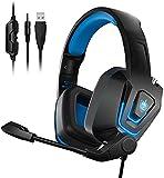 Headset PS4, PHOINIKAS Gaming Headset für Xbox One PS5 Switch PC, 3,5mm Over Ear Kopfhörer mit Noise Cancelling-Mikrofon, Bass-Surround, One Key Mute, Lautstärkeregelung, LED Licht - Blau