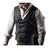 Andiwa Herren Slim Fit Fischgräten-Tweed Weste Zweireihige Wollmischung Anzug Weste für Hochzeit Groomsmen Business (Schwarz, XL)